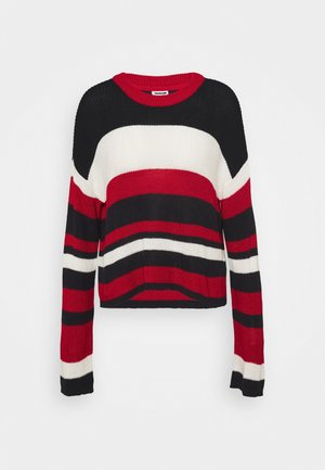 NMSIAN O-NECK STRIPE - Jumper - night sky/haute red/sugar swizzle
