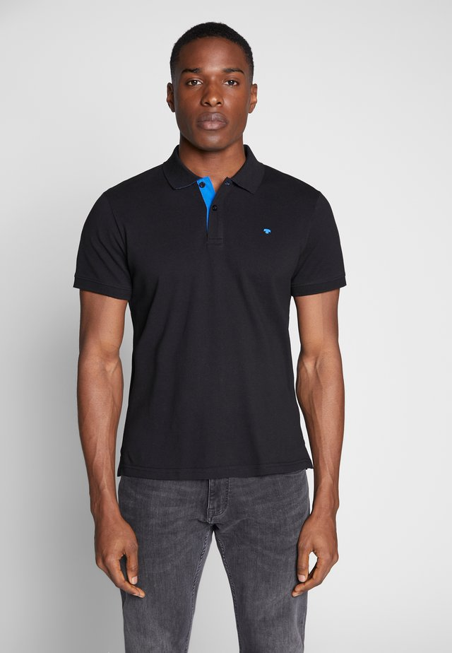 BASIC WITH CONTRAST - Polo shirt - black