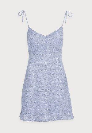 BARE TIE SHOULDER SLIM WAIST MINI - Day dress - blue
