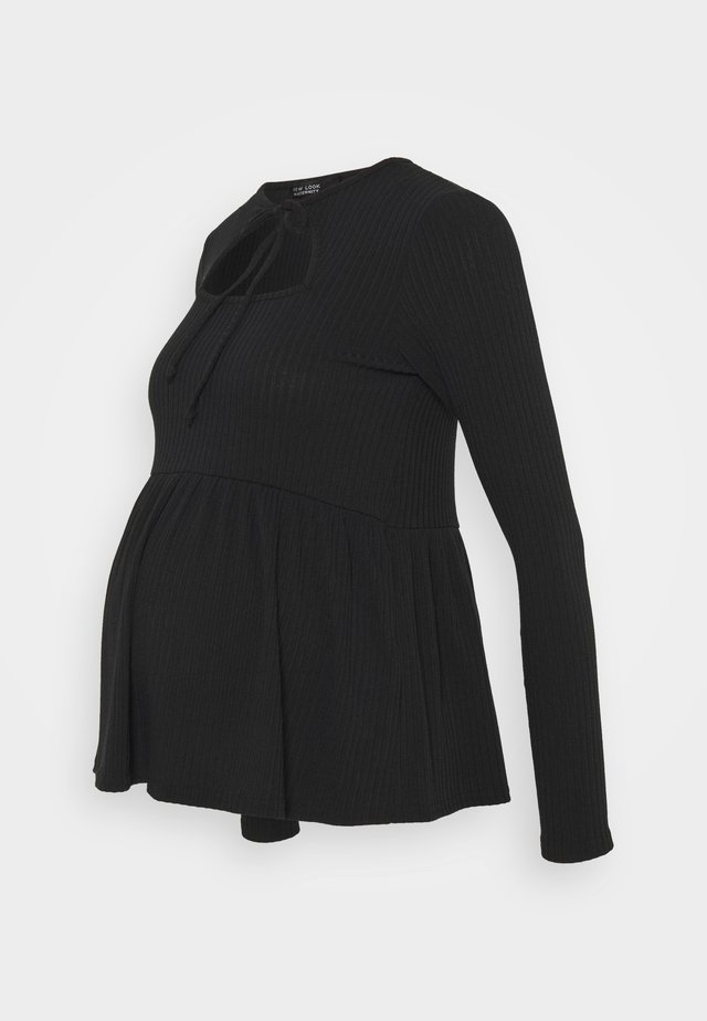 SOFT CUT OUT PEPLUM - Long sleeved top - black