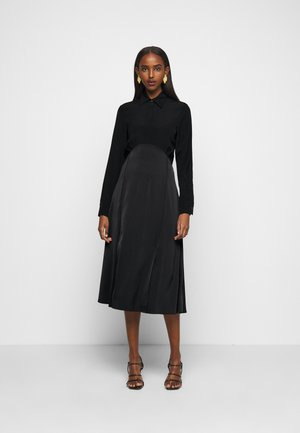 BUTTON FRONT MIDI DRESS - Košilové šaty - black