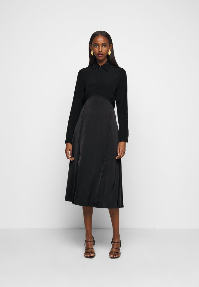 BUTTON FRONT MIDI DRESS - Shirt dress - black