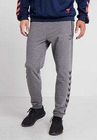 Hummel - RAY - Tracksuit bottoms - dark grey melange - 0