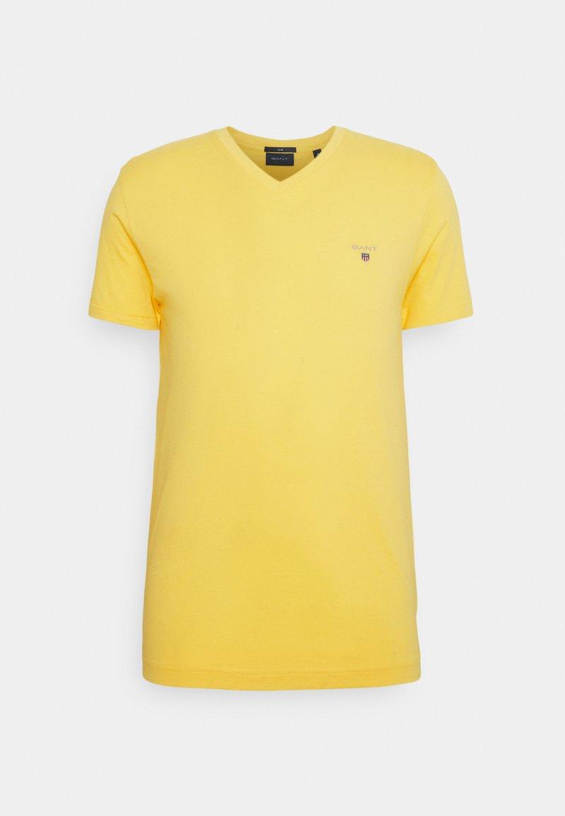 GANT - ORIGINAL SLIM V NECK - T-shirt - bas - brimstone yellow