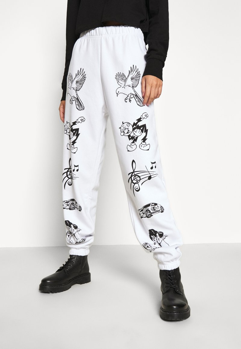 NEW girl ORDER - CLASSIC CARTOON - Pantalones deportivos - white