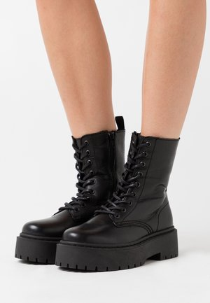 BIADEB LACED UP BOOT - Platåstøvletter - black