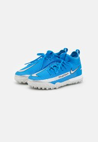 Nike Performance - JR PHANTOM GT ACADEMY DF TF UNISEX - Fodboldstøvler m/ multi knobber - photo blue/metallic silver/rage green - 1