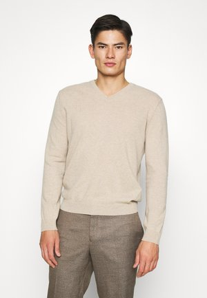 BASIC V NECK - Jumper - light beige