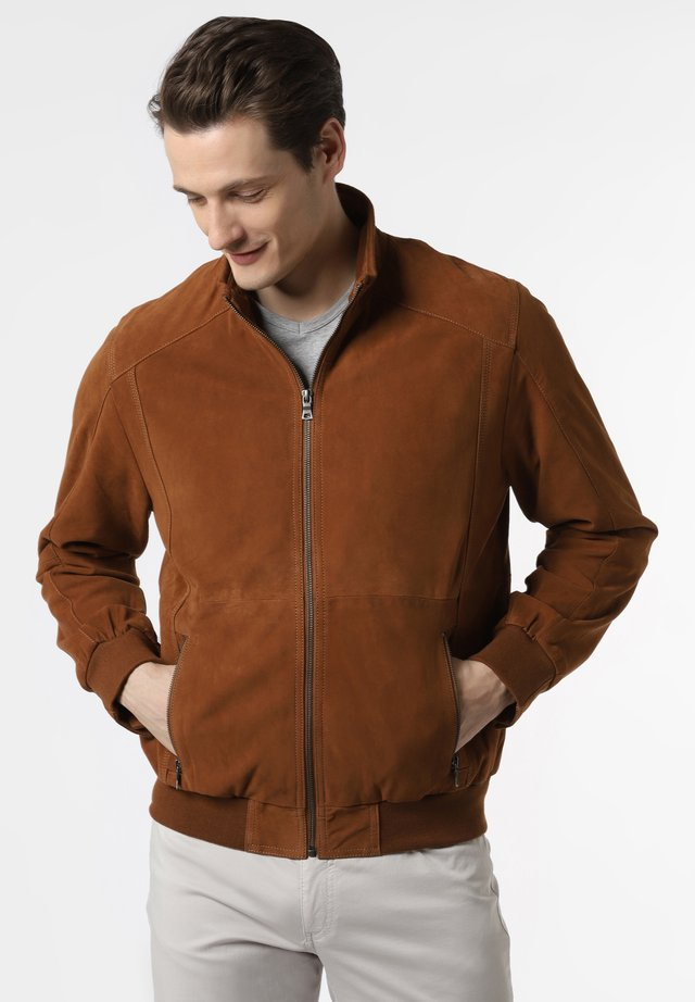 OSCAR - Leather jacket - cognac