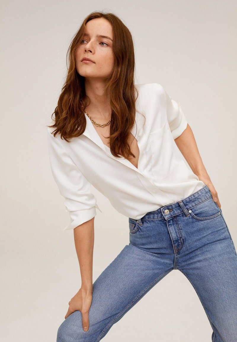 Mango - SATINI - Button-down blouse - cremeweiß