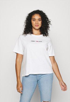 LINEAR LOGO TEE - Print T-shirt - white