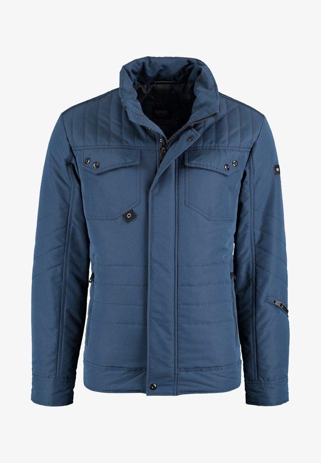 MIT VERDECKTER KNOPFLEISTE UND STEHKRAGEN - Light jacket - blue
