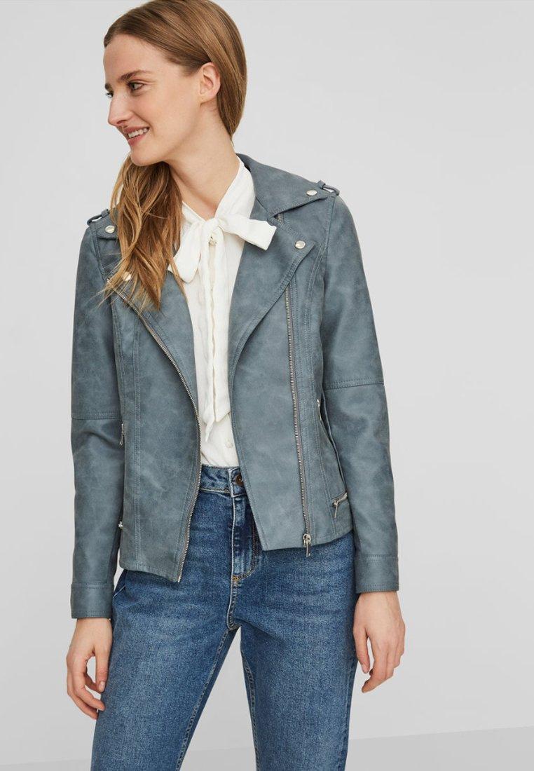 Vero Moda - VMWORLD SHORT - Faux leather jacket - dark blue