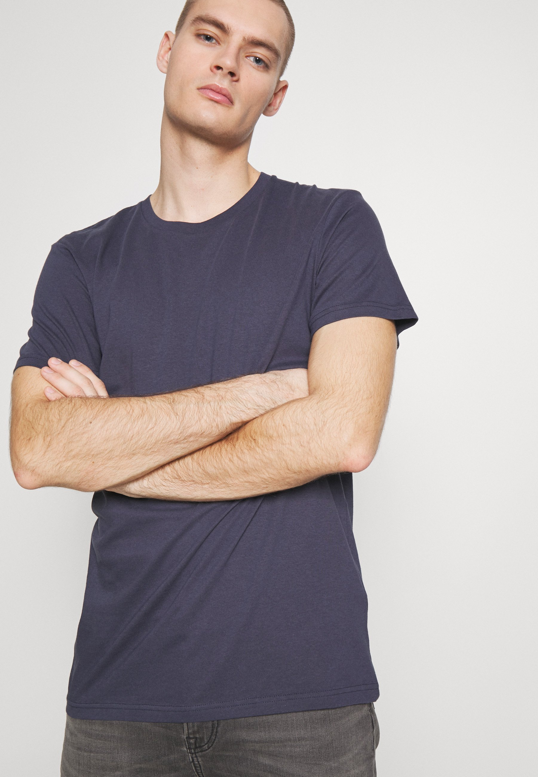 Cotton On ESSENTIAL TEE 3 PACK - Basic T-shirt - grey marle/ true navy/ charcoal marle N1uQ7