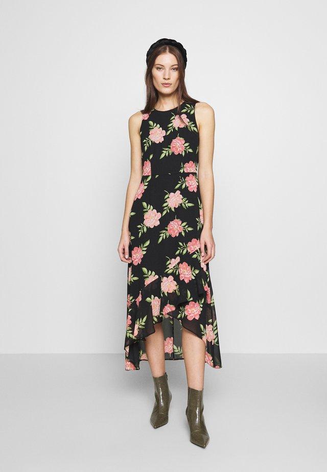 FLORAL HIGH LOW HEM MAXI DRESS - Korte jurk - black