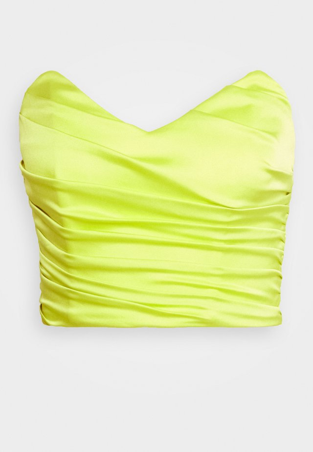ROUCHED SLEEVELESS CROP - Top - lime