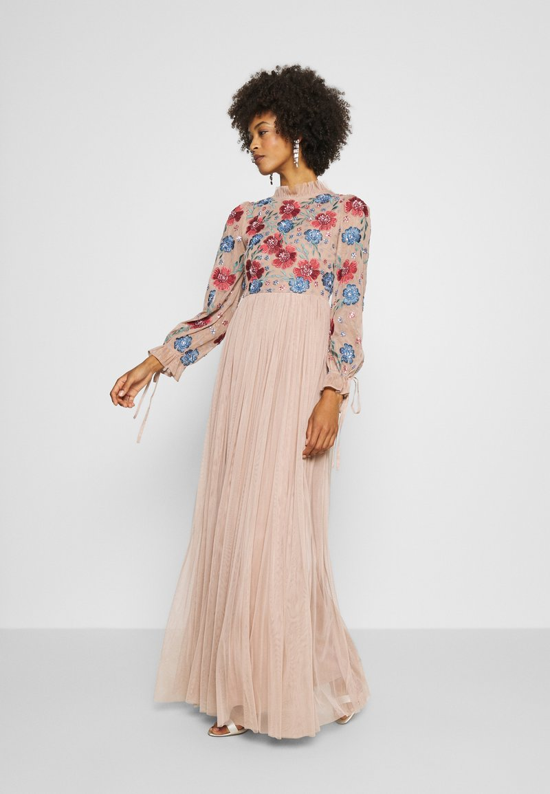 Maya Deluxe - EMBROIDERED FLORAL MAXI DRESS WITH BISHOP SLEEVES - Společenské šaty - taupe blush