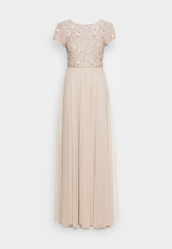 FLORAL BEADED  WITH TULLE - Suknia balowa - biscotti