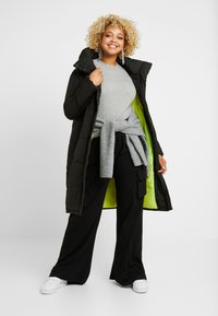Simply Be - LONG PUFFER COAT WITH CONTRAST LINING - Villakangastakki - black - 1