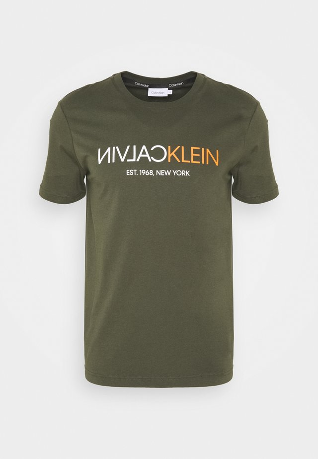 T-shirt print - dark olive