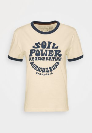 ROAD TO REGENERATIVE RINGER TEE - T-shirt z nadrukiem - white wash