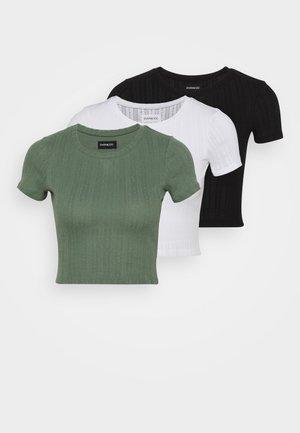 3 PACK - Jednoduché triko - black/mottled green/white