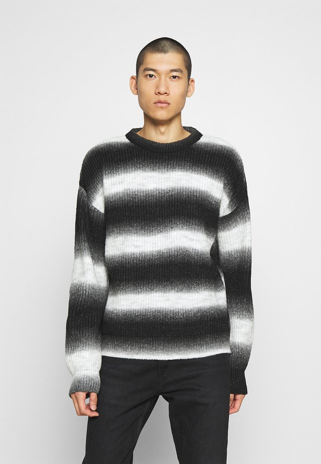 FADE STRIPE CREW NECK - Jumper - black