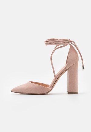 Lace-up heels - light pink