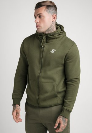 ZIP THROUGH FUNNEL NECK HOODIE - Felpa aperta - khaki