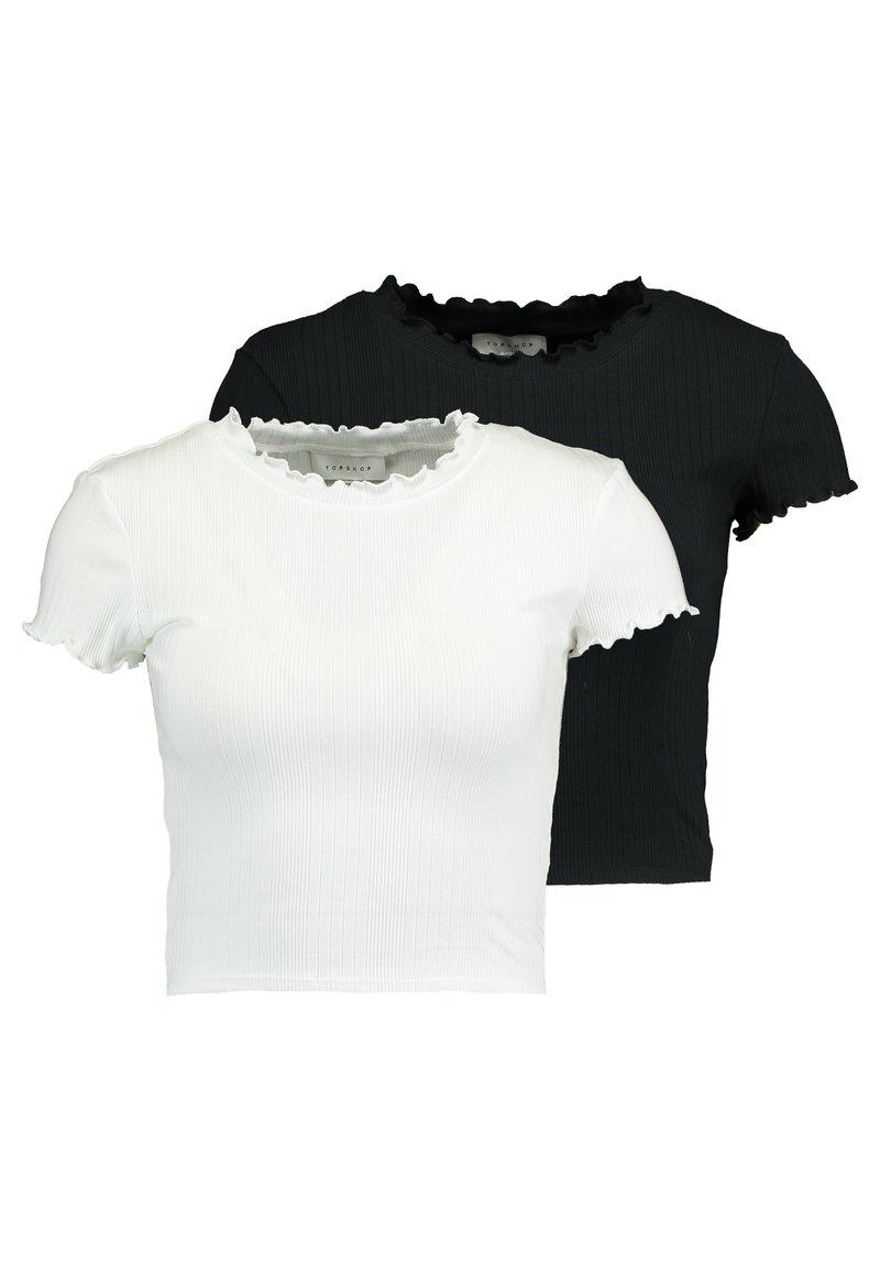 Topshop - LETTUCE TEE 2 PACK - T-paita - black/white