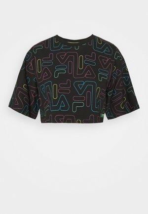 SUSAN WIDE CROPPED TEE - Print T-shirt - black