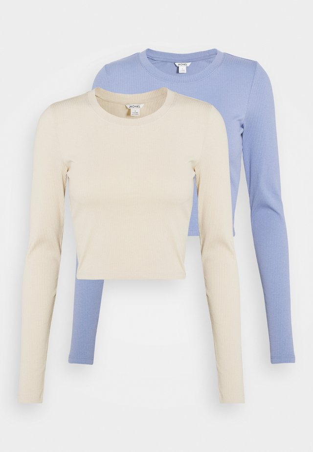 BARB 2 PACK - Long sleeved top - blue light/beige