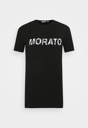 ROUND COLAR WITH LOGO  - Print T-shirt - black