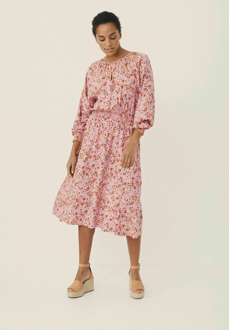 Part Two - HILAL - Day dress - flower print, sea pink