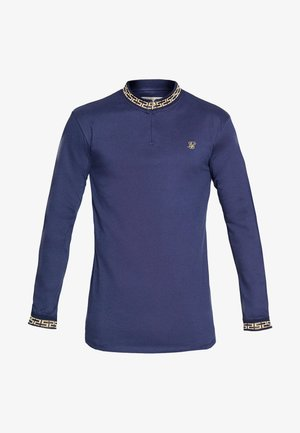 SIKSILK LONG SLEEVE CHAIN RIB COLLAR CUFF - Long sleeved top - navy