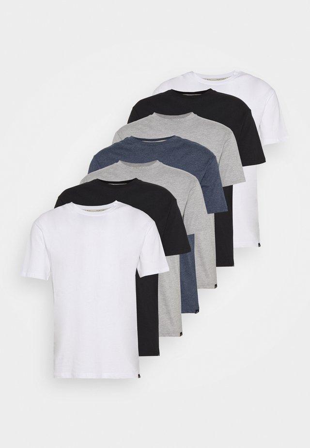 MULTI TEE MARLS 7 PACK - Basic T-shirt - black/white/grey/blue