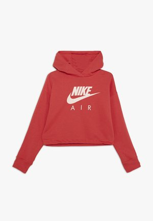 NIKE AIR CROP HOODIE - Mikina s kapucí - track red/washed coral