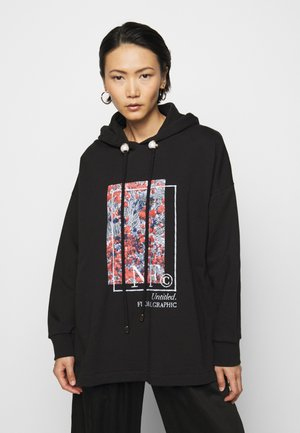 HOODIE WITH THICK CORD & PEARL CORD STOPPER - Bluza z kapturem - black