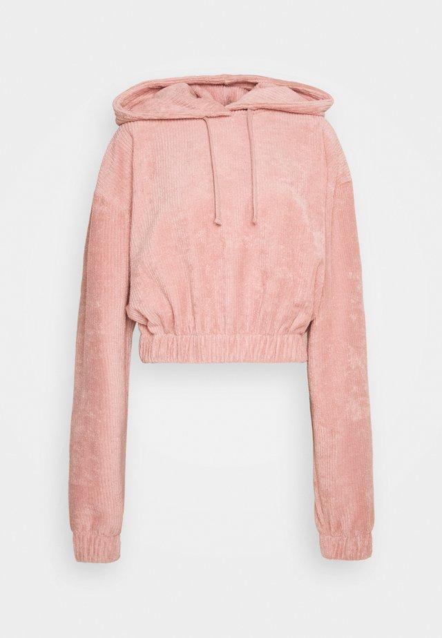OVERSIZED CROPPED TOWELLING HOODIE - Hoodie - light pink