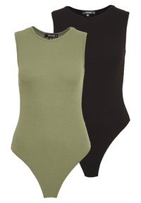 Missguided - SLEEVELESS BODYSUIT 2 PACK - Top - black/khaki - 0