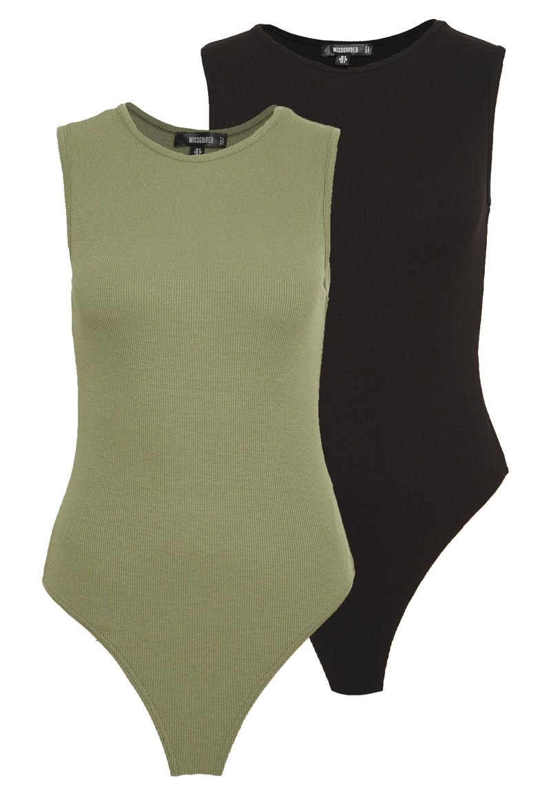 Missguided - SLEEVELESS BODYSUIT 2 PACK - Top - black/khaki