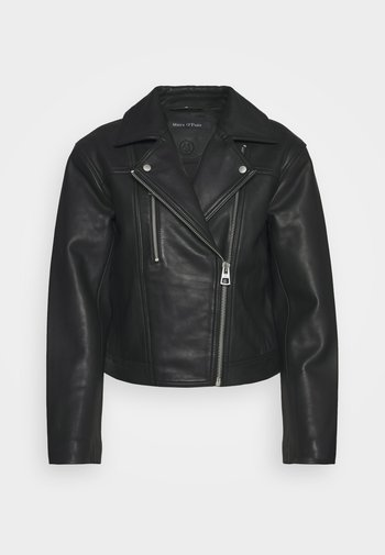 JACKET BIKER STYLE SHORT LENGTH DROPPED SHOULDER - Leather jacket - black