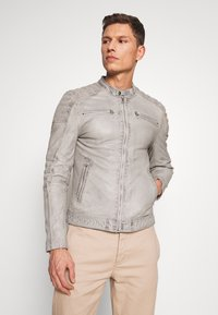 Goosecraft - BIRMIGHAM BIKER - Veste en cuir - light grey - 0