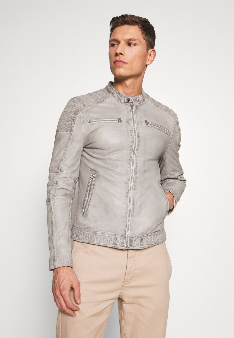 Goosecraft - BIRMIGHAM BIKER - Veste en cuir - light grey