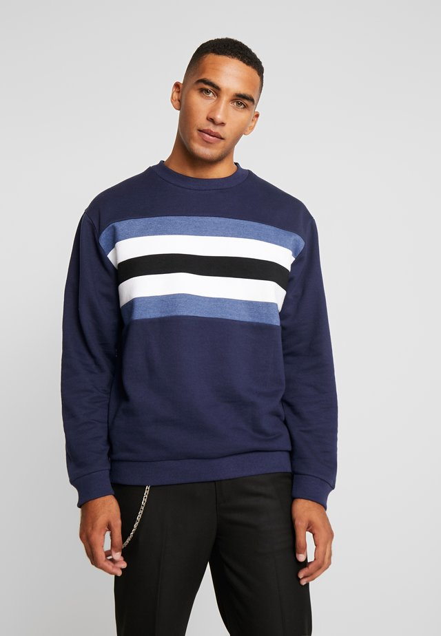 CUT AND SEW CREW NECK - Sweater - navy