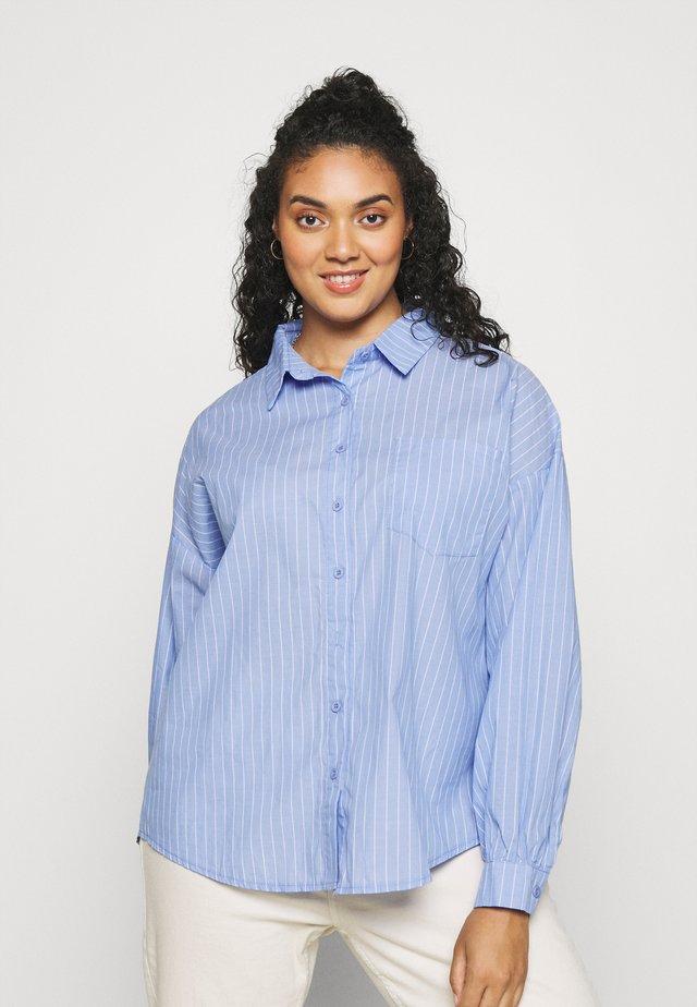 PLUS OVERSIZED SHIRT STRIPE - Button-down blouse - blue