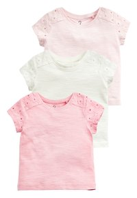 Next - 3 PACK BRODERIE T-SHIRTS (3MTHS-8YRS) - Basic T-shirt - pink - 0