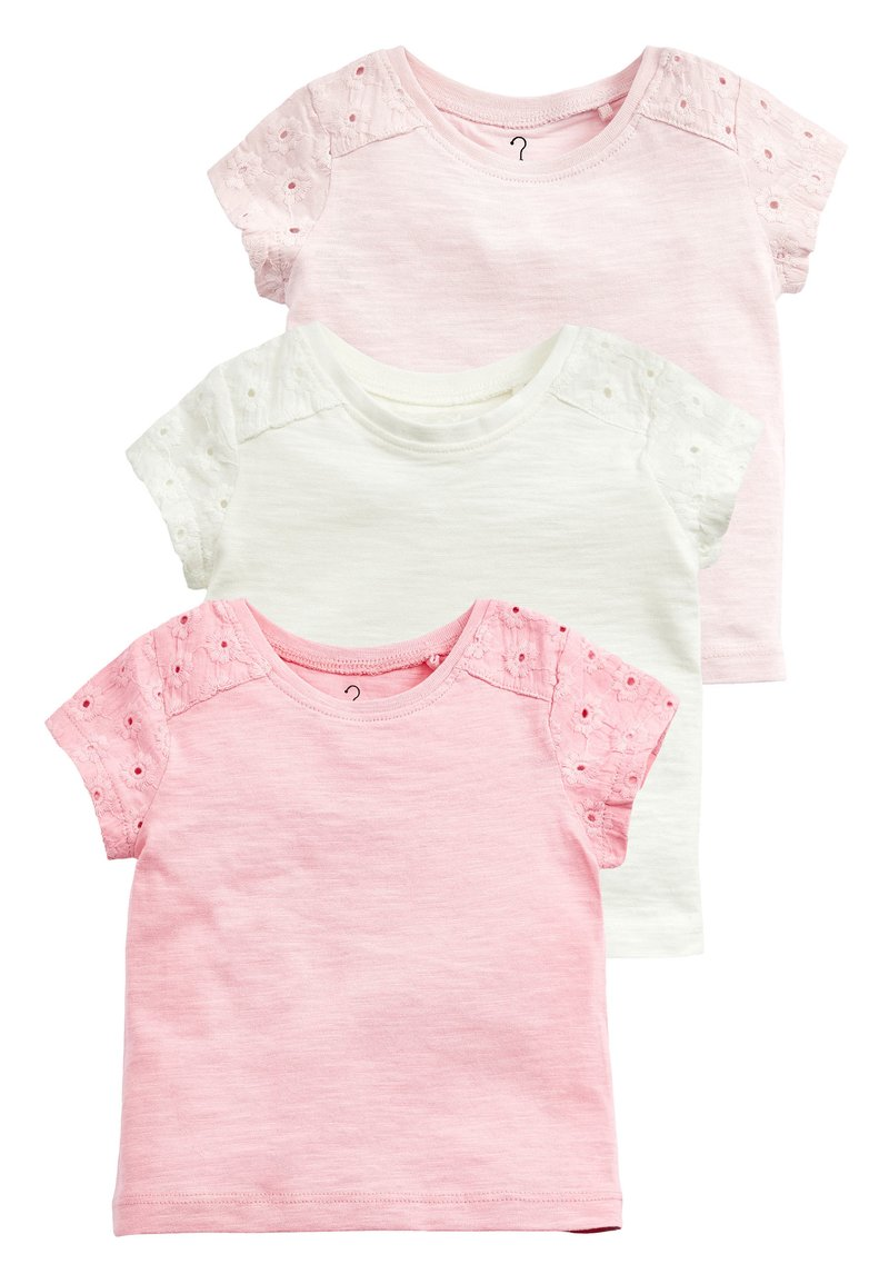 Next - 3 PACK BRODERIE T-SHIRTS (3MTHS-8YRS) - Basic T-shirt - pink