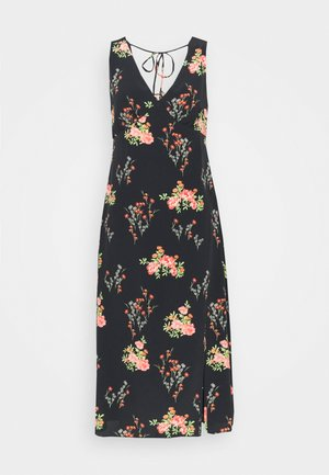 LADIES DRESS FLORAL SPLIT - Hverdagskjoler - black/pink