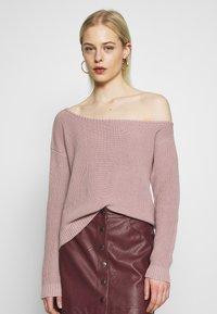 Even&Odd - BASIC-OFF SHOULDER - Sweter - rose - 0